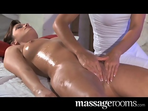 Massage Rooms Hot lesbian clit massage for beautiful brunette