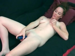 Vibrating dildo makes cutie moan in pleasure