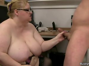 Glasses and lingerie on his fat whore