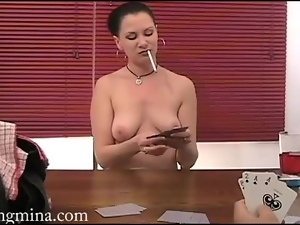 Eating her pussy after a poker game