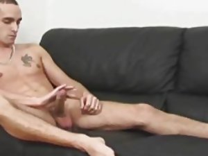 He's hunky and cute and he's jerking his nice cock
