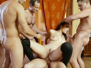 Four huge dicks for one little 18yo girl