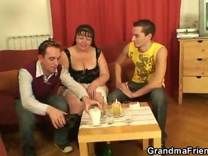 Two funny dudes bang mature fatty
