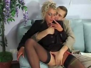 Blonde secretary fucked in the ass
