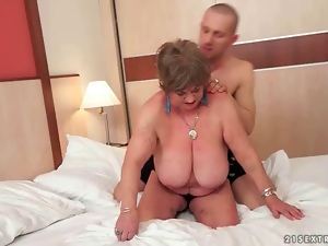 Busty fat grandma enjoying nasty sex
