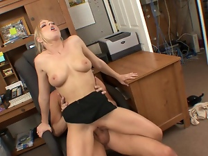 Blonde secretary jumping on a big cock