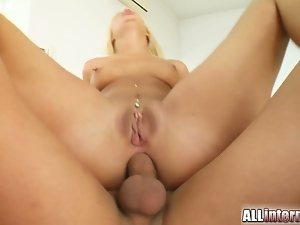 Slutty blonde gets ass gaped