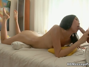 Skinny asian chick gets banged by the massseuse
