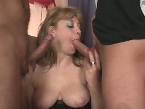Two buddies bang horny old bitch