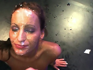 German slut completely face-covered in cum
