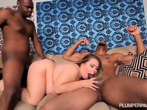 Hot bbw hillary hooterz gets banged by two dudes