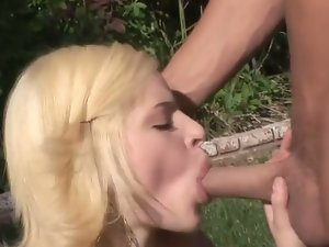 Blonde cheerleader ally ann outdoor blowjob