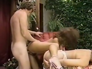 Two hairy classic babes getting hard cock outdoor