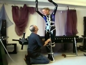 Hot blonde gets tied up and tortured