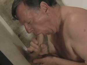 Grandpa loves big gloryhole cock