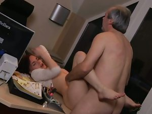 Young secretary nailed by old boss