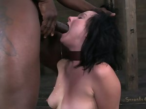 Naughty brunette gets throatfucked bdsm style