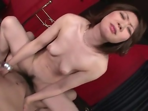 Slowly grinding her young pussy on his cock