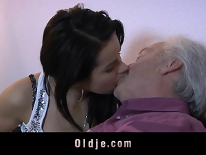 Juicy Young brunette and Old man have sex