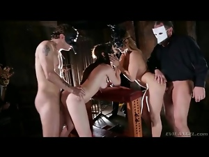 Two masked couples have doggystyle foursome