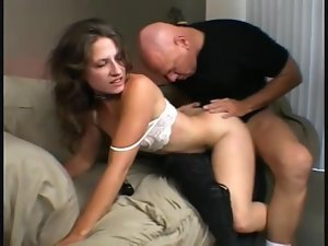 Slim flexible girl fucked in her hairy pussy