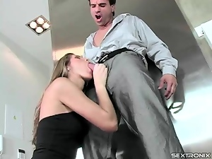 Suck and sex with a slender girl in little black dress