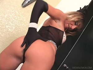 Striptease with tranny and hot girl in gloves