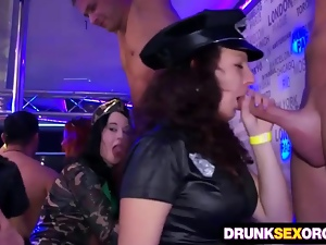 Drunk cock hungry chicks in costumes