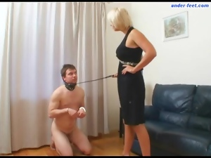 He wears a collar and submits to her man