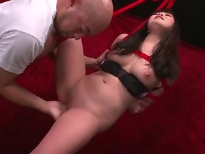 Bound Japanese girl with shaved pussy masturbated