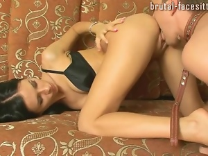 Aggressive mistress pulls him into her pussy