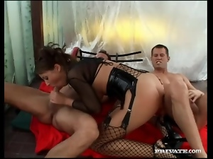 Latex corset and stockings on hot anal slut