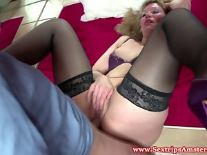 Perfect dutch tempting blonde prostitute gets fingered