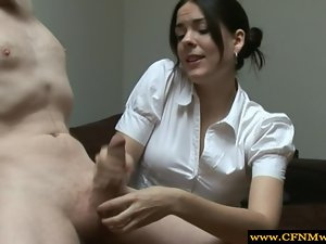 Cfnm slutty girl gives chap a handjob