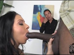 Cuckold husband humiliated by his slutty wife and her black lover