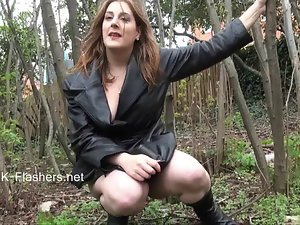 Amateur slutty girl Jannas public masturbation and outdoor fake penis