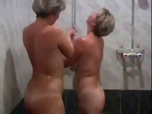 Two Housewives Play with Each Other Then Several cock