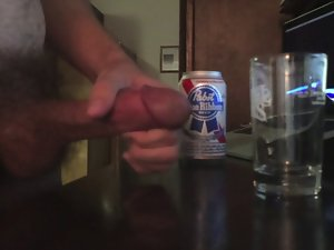 Cum in beer and drink it