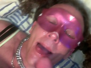 Tall Transsexual Receives Face Sitting Facial