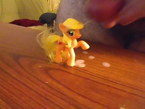 Puny dick cumming on Applejack mlp doll