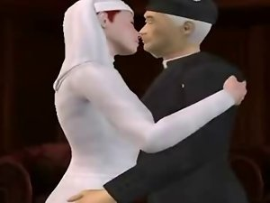 3D nun licking pecker