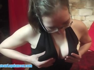Two slutty chicks are doing luscious BJ and lapdance