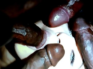Black penis blowbang cum tribute