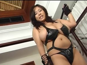 Asian with giant mega big melons in latex