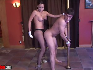 Male Stripper Chained to a Pole and Banged by His Lady Boss