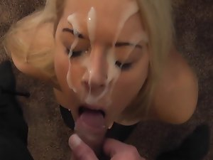 Blond whore facialed and banged with sperm on her face