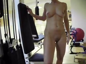 Nude at fitness club