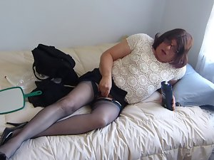 Sissy Training in a new top and Blue Nylons
