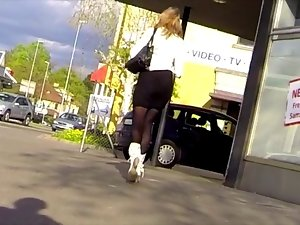 Candid - Sexual Slutty girl Skirt Boots And Stockings