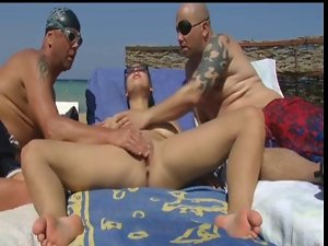 Naked Beach - Big Boob Pierced Attractive mature - MMF Crazy threesome action Play